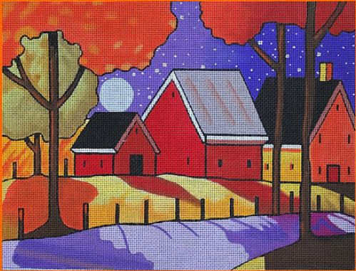 click here to view larger image of Farm Roadway - Night View (hand painted canvases)