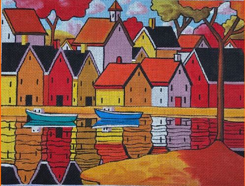 click here to view larger image of Town Harbor Reflection (hand painted canvases)