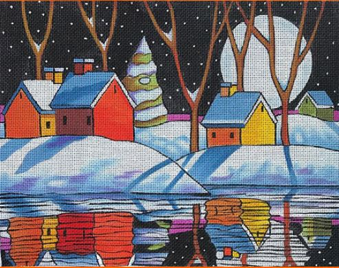 click here to view larger image of Night Snow Reflection (hand painted canvases)