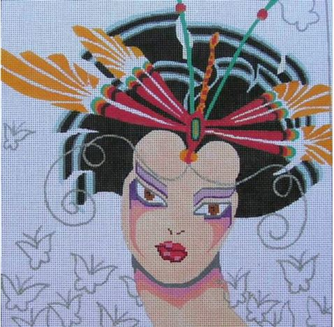 click here to view larger image of Dragonfly Geisha (hand painted canvases)