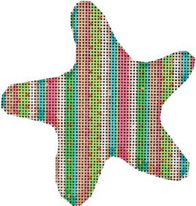 click here to view larger image of Beach Stripe Starfish Ornament (hand painted canvases)