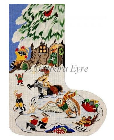click here to view larger image of Animal Skating Party Stocking (hand painted canvases)