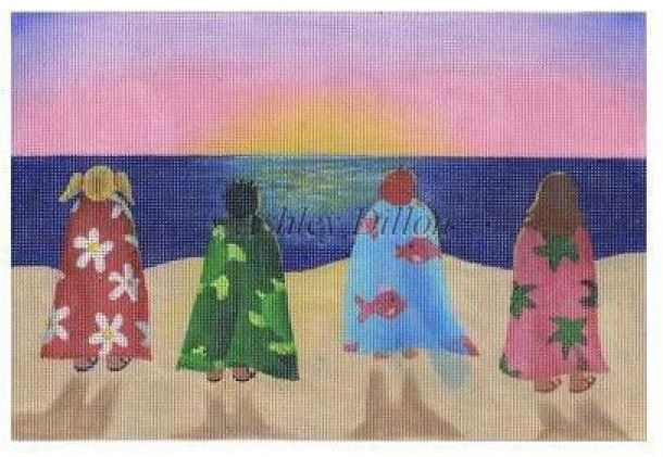 click here to view larger image of Beach Kids at Sunset (hand painted canvases)