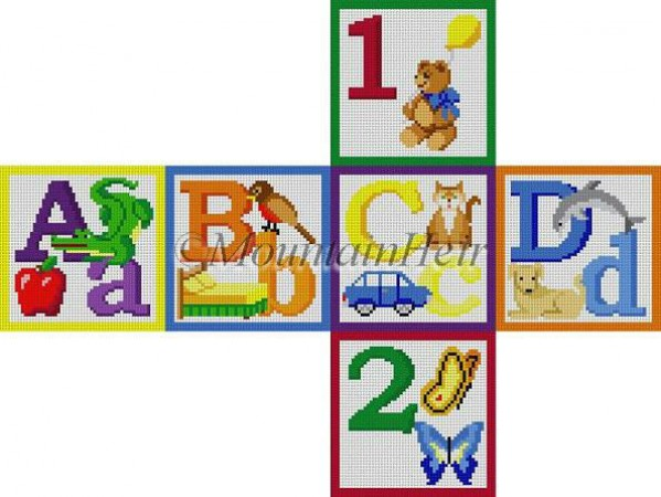 click here to view larger image of Alphabet Block - A B C D 1 2 (hand painted canvases)