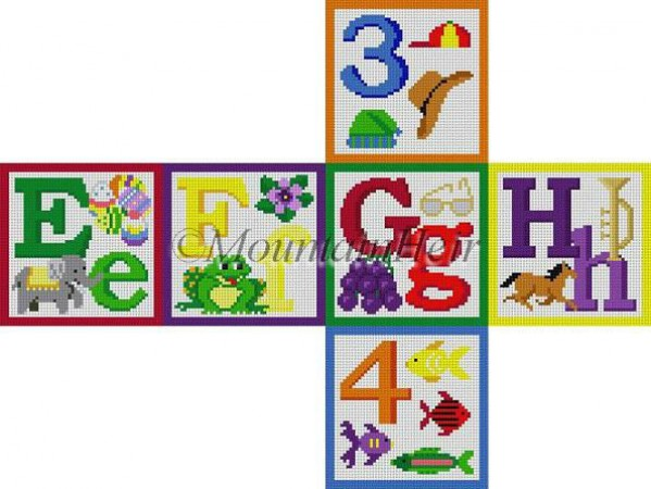 click here to view larger image of Alphabet Block - E F G H 3 4 (hand painted canvases)
