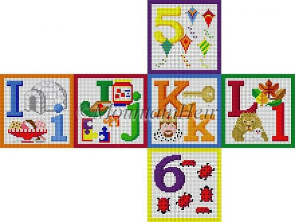 click here to view larger image of Alphabet Block - I J K L 5 6 (hand painted canvases)