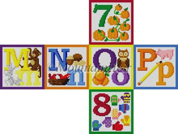 click here to view larger image of Alphabet Block - M N O P 7 8 (hand painted canvases)