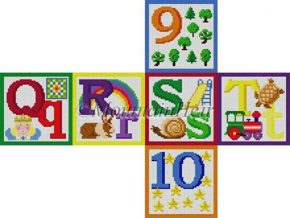 click here to view larger image of Alphabet Block - Q R S T 9 10 (hand painted canvases)