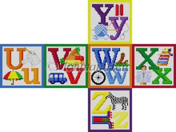 click here to view larger image of Alphabet Block - U V W X Y Z (hand painted canvases)