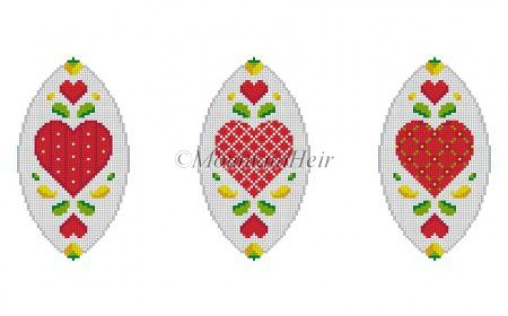 click here to view larger image of Hearts Triad Ornament (hand painted canvases)