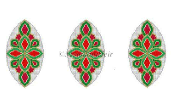 click here to view larger image of Red Green Gold Medallion Triad Ornament (hand painted canvases)
