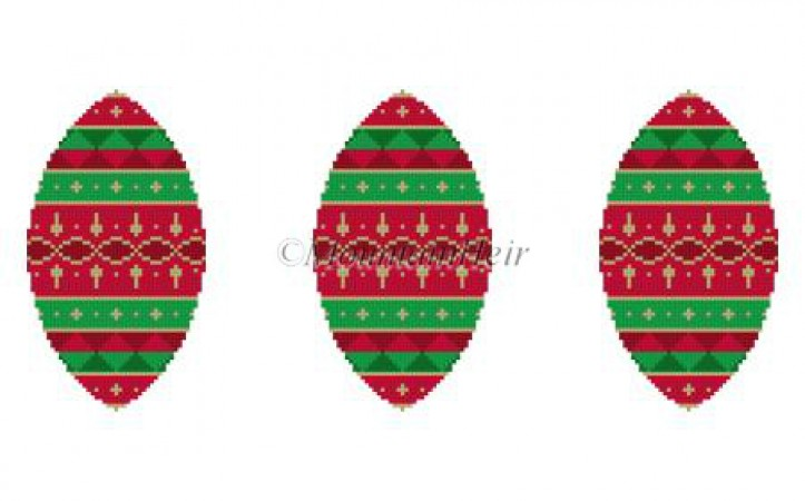 click here to view larger image of Red Green Gold Bands Triad Ornament (hand painted canvases)