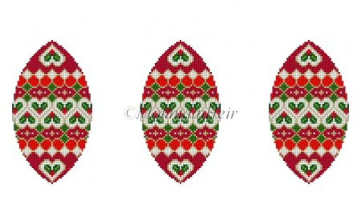 click here to view larger image of Holly Hearts Triad Ornament (hand painted canvases)