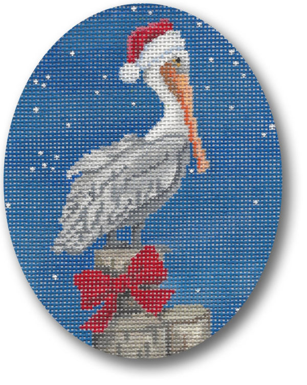 click here to view larger image of Xmas Pelican  (hand painted canvases)