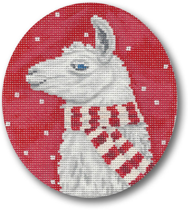 click here to view larger image of Llama w/Scarf Ornament (hand painted canvases)