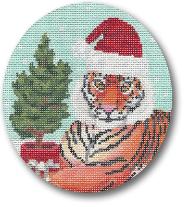 click here to view larger image of Tiger w/Tree Ornament (hand painted canvases)