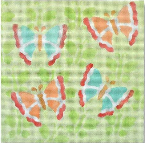 click here to view larger image of Butterflies on Butterflies (hand painted canvases)