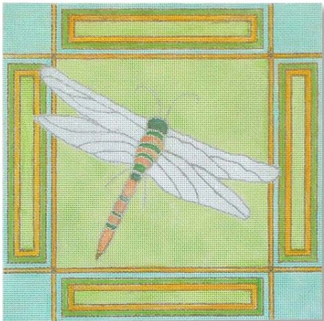 click here to view larger image of Dragonfly  with Border (hand painted canvases)