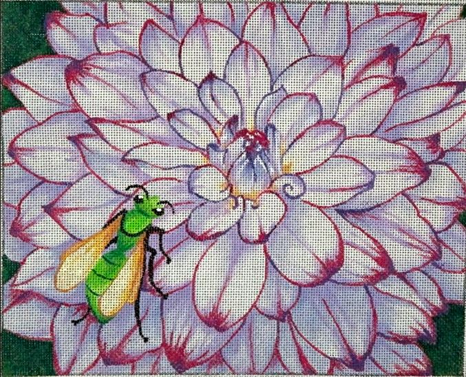 click here to view larger image of Clementis & Flower Bee (hand painted canvases)