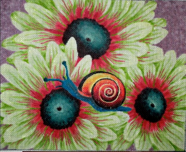 click here to view larger image of Cove Flower & Snail (hand painted canvases)