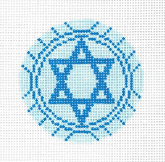 click here to view larger image of Blue Star Of David Ornament (hand painted canvases)