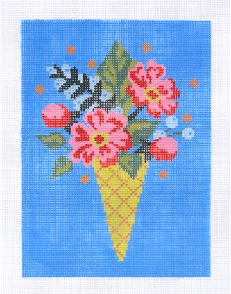 click here to view larger image of Flower Cone (hand painted canvases)
