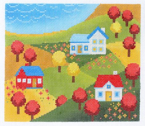 click here to view larger image of Folk Landscape (hand painted canvases)