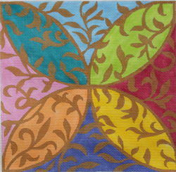 click here to view larger image of Leafy Arabesque (hand painted canvases)