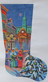 click here to view larger image of Carolers Stocking (hand painted canvases)