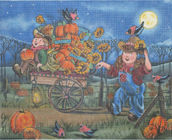 click here to view larger image of Halloween Scenes - Picking Pumpkins (hand painted canvases)