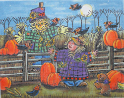 click here to view larger image of Halloween Scenes - Scarecrows (hand painted canvases)