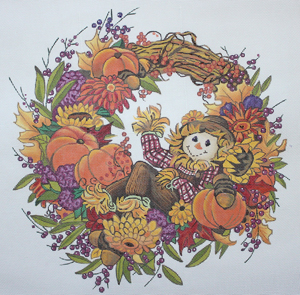 click here to view larger image of Fall Welcome Wreath (hand painted canvases)