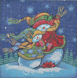 click here to view larger image of Snowman Series - Winter Hug (hand painted canvases)