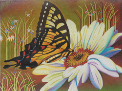 click here to view larger image of Butterfly & Daisy (hand painted canvases)
