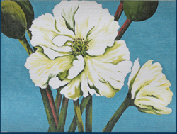 click here to view larger image of White Poppy Delight (hand painted canvases)