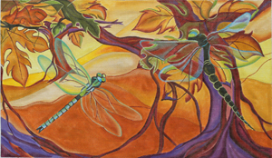 click here to view larger image of Dragonflies - Morning Flight (hand painted canvases)