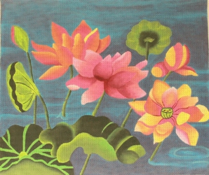 click here to view larger image of Lotus Pond on Blue (hand painted canvases)