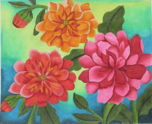 click here to view larger image of Dahlia Garden (hand painted canvases)