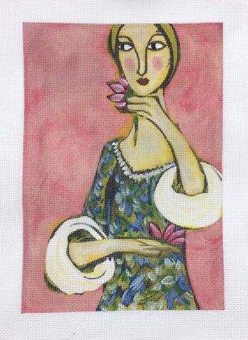 click here to view larger image of Girl With Flowers II (hand painted canvases)