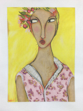 click here to view larger image of Girl With Flower Hat (hand painted canvases)