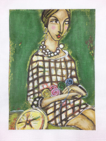 click here to view larger image of Girl Knitting (hand painted canvases)