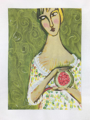 click here to view larger image of Girl With Watermelon (hand painted canvases)
