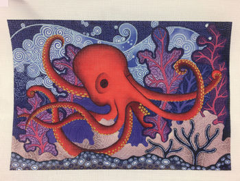 click here to view larger image of Red Octopus (hand painted canvases)
