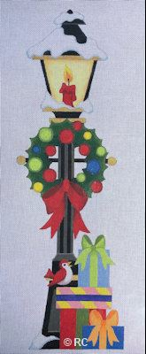 click here to view larger image of Christmas Lamp Post (hand painted canvases)