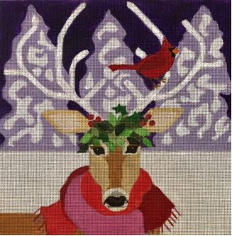 click here to view larger image of Reindeer With Cardinal  (hand painted canvases)