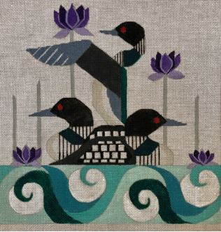 click here to view larger image of Loons & Lotuses (hand painted canvases)