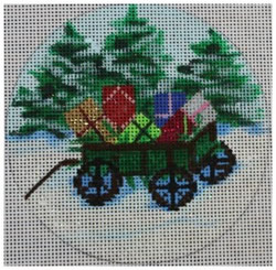 click here to view larger image of Christmas Wagon Ornament (hand painted canvases)