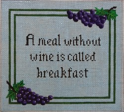 click here to view larger image of A Meal  Without Wine Is Called Breakfast (hand painted canvases)