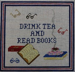 click here to view larger image of Drink Tea & Read Books (hand painted canvases)