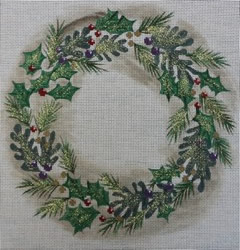 click here to view larger image of Wreath Pillow (hand painted canvases)